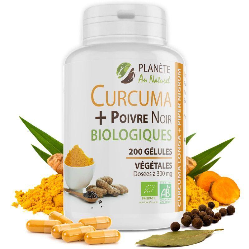 Planète au Naturel Curcuma et Poivre Noir Bio - 300 mg - 200 gélules végétales