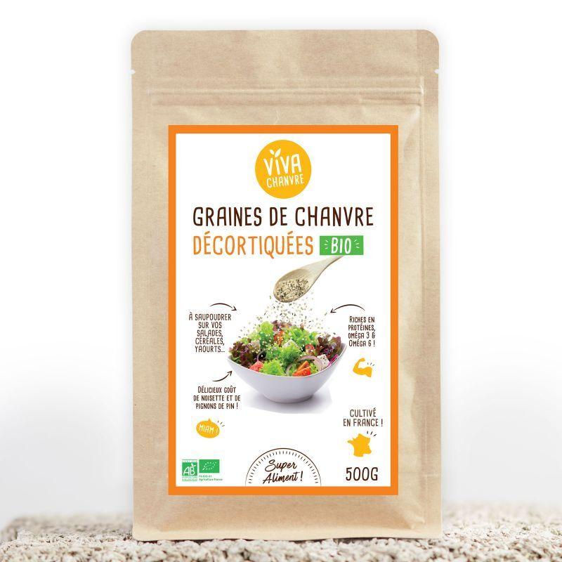 VivaChanvre Graines de Chanvre Bio Décortiquées - 500 g