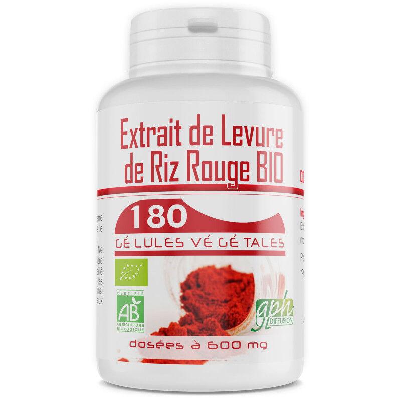 GPH Diffusion Levure de Riz Rouge Bio 1,6% - 600 mg -180 gélules