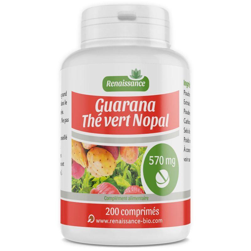 Renaissance Bio Guarana Nopal Thé Vert - 570 mg - 200 Comprimés