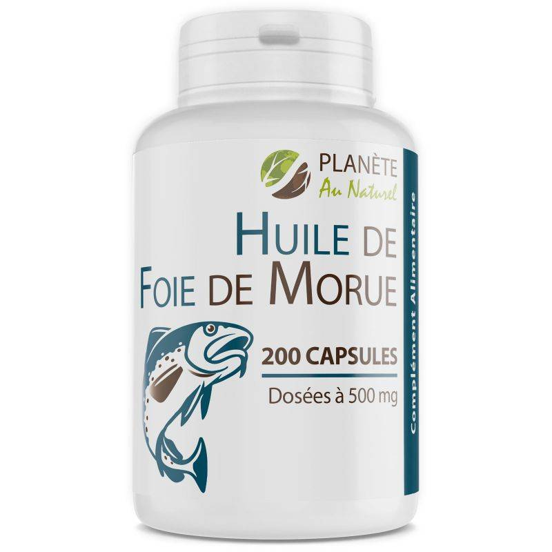 Planète au Naturel Huile de Foie de Morue - 500 mg - 200 capsules