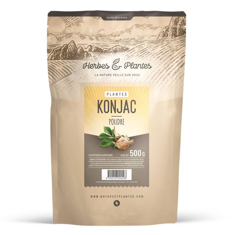 Herbes et Plantes Konjac - 500 g de poudre - à 80 % glucomannane