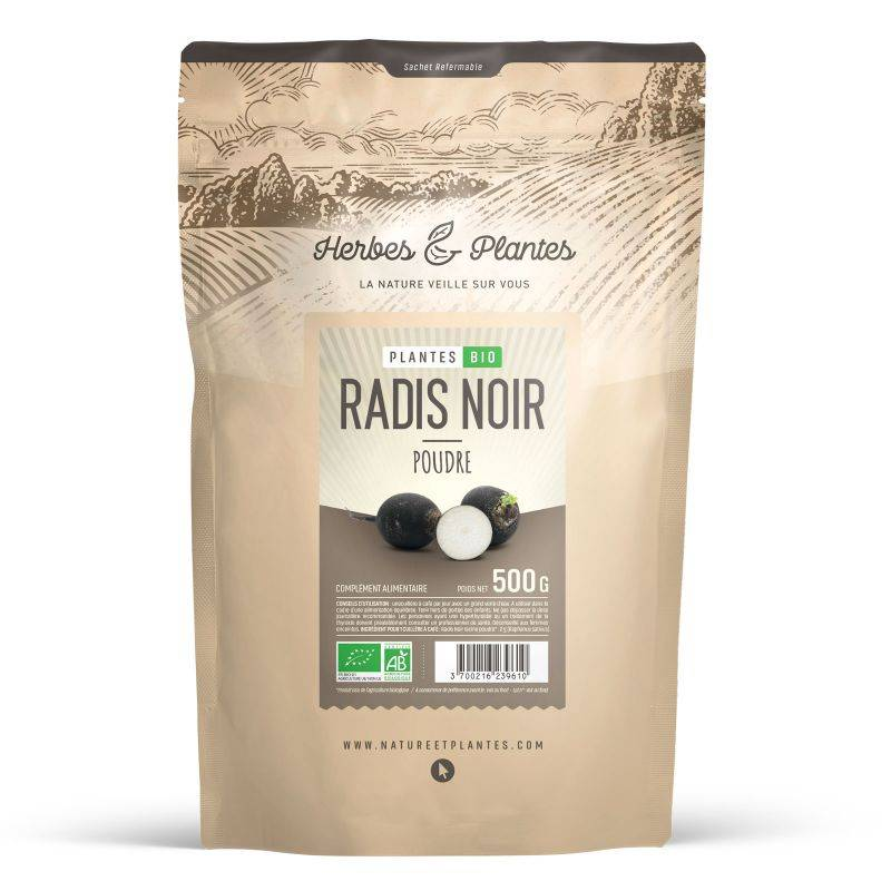 Herbes et Plantes Radis Noir Bio en poudre - 500 g