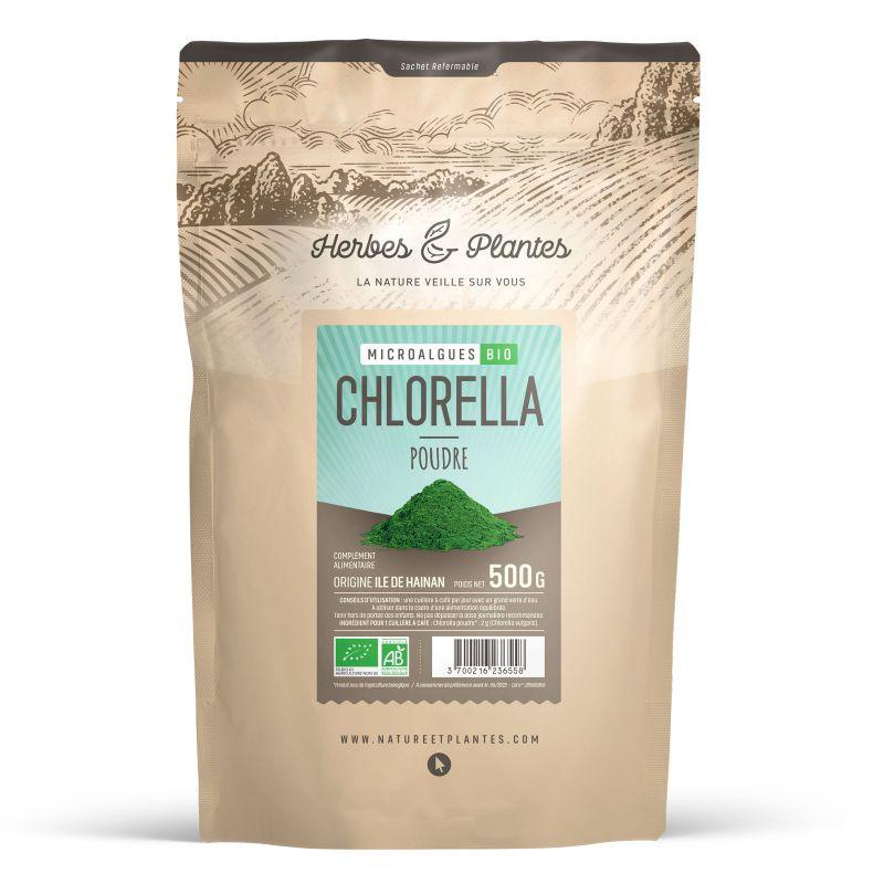 Herbes et Plantes Chlorella Bio - 500 g de poudre