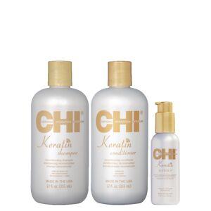 CHI KERATIN - Shampoing + Après-Shampoing à la Kératine + Traitement lissant thermal - 2 x 355 ml + 115 ml - Publicité