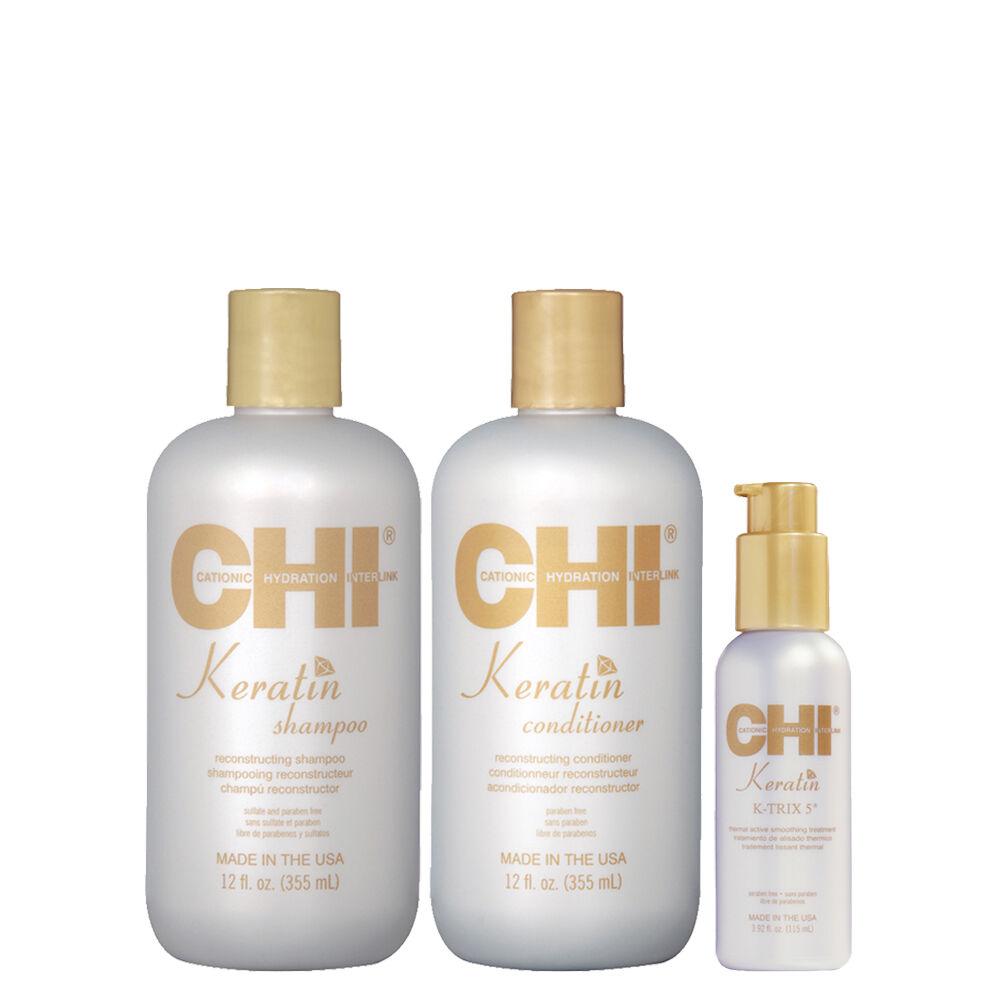 CHI KERATIN - Shampoing + Après-Shampoing à la Kératine + Traitement lissant thermal - 2 x 355 ml + 115 ml