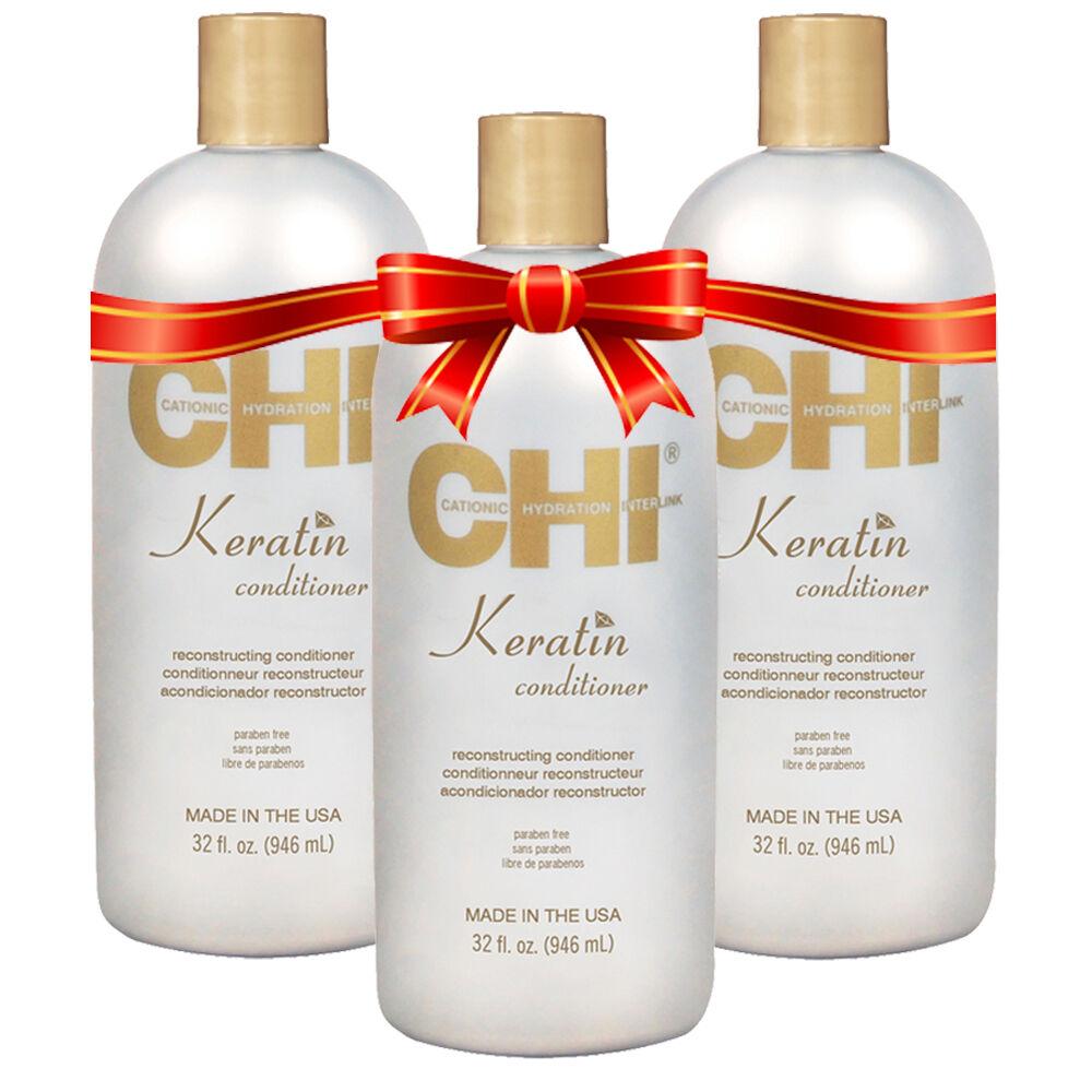 CHI - Kit Après-shampoing à la Kératine - Sans parabène / Sans Sulfate - 3 x 946 ml