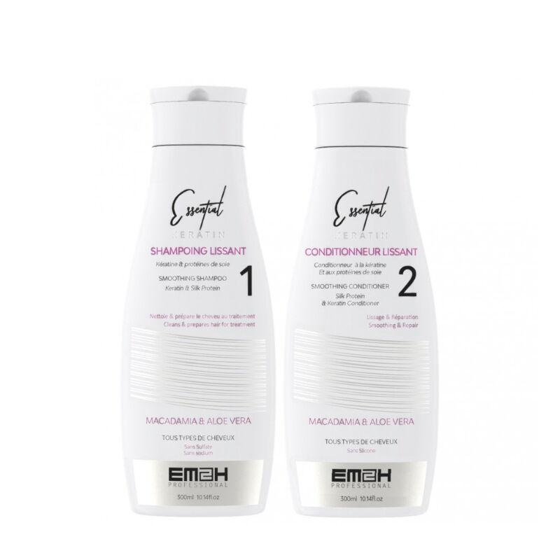 Em2h Essential Keratin - Kit Entretien Lissage Brésilien - Shampoing + Conditionneur