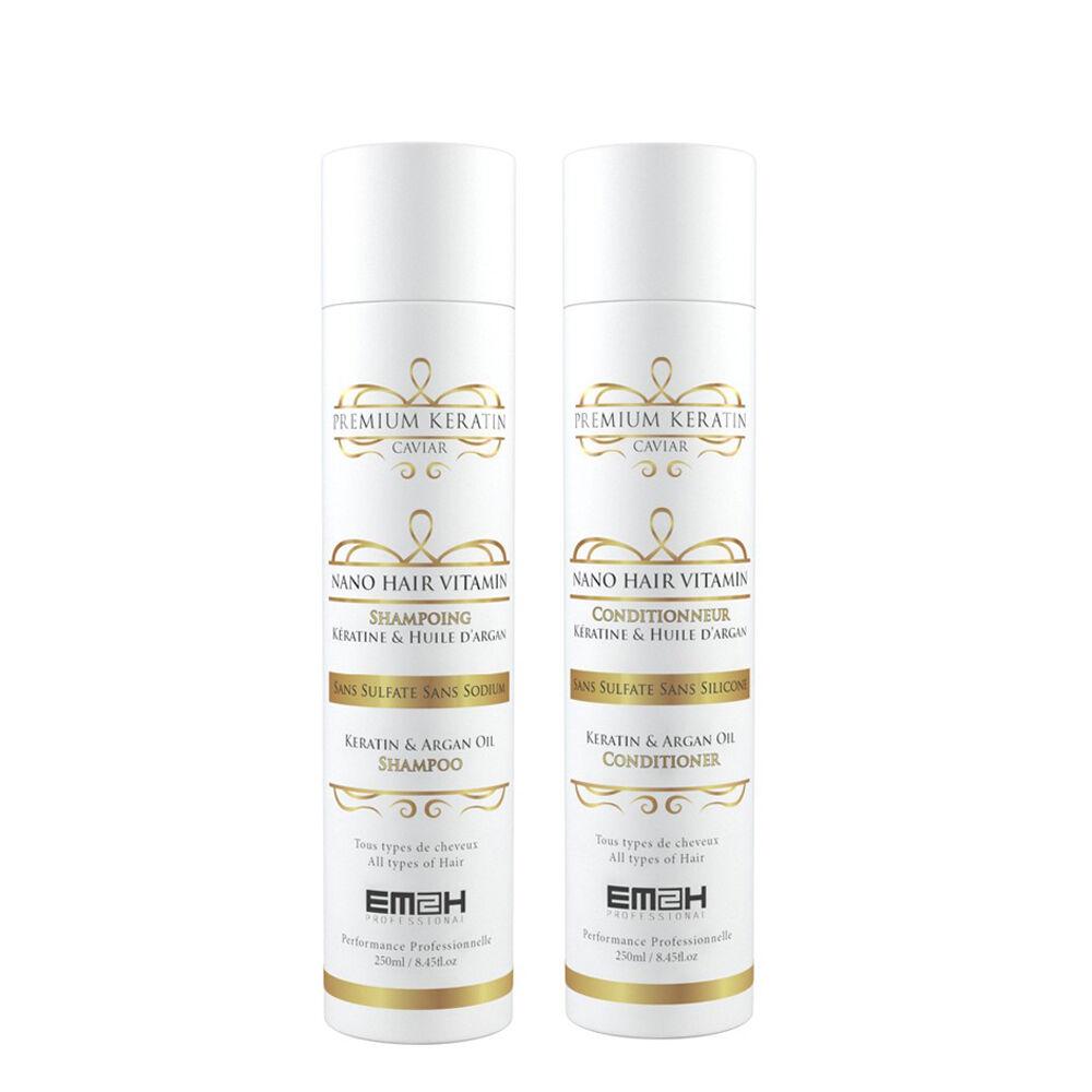 Em2h Premium Keratin Caviar - Kit Entretien Lissage Brésilien - Shampoing + Conditionneur