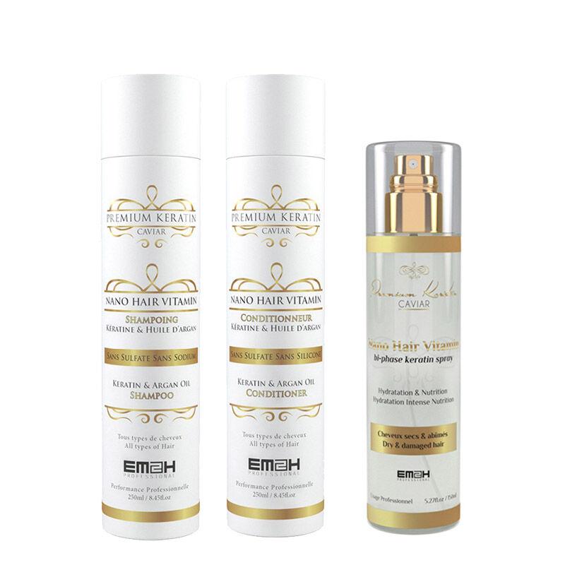Em2h Premium Keratin Caviar - Kit Entretien Lissage Brésilien - Shampoing + Conditionneur + Nano Hair Vitamin Spray Bi-phase