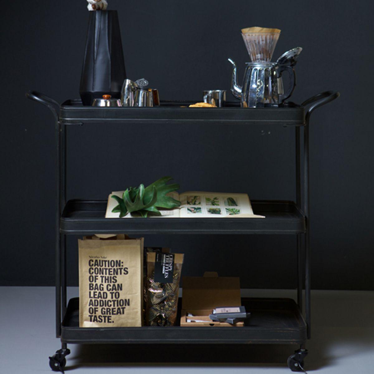 Pure Table desserte roulante en métal noir Tea Trolley