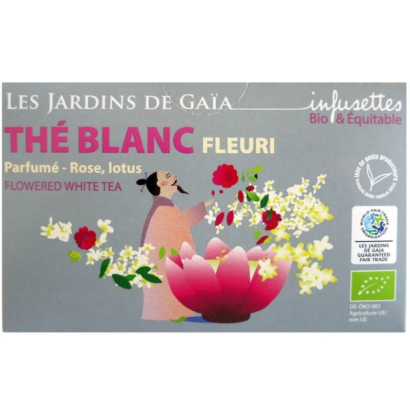 Les Jardins de Gaïa Thé blanc bio Fleuri rose lotus Jardins de Gaïa 20 infusettes