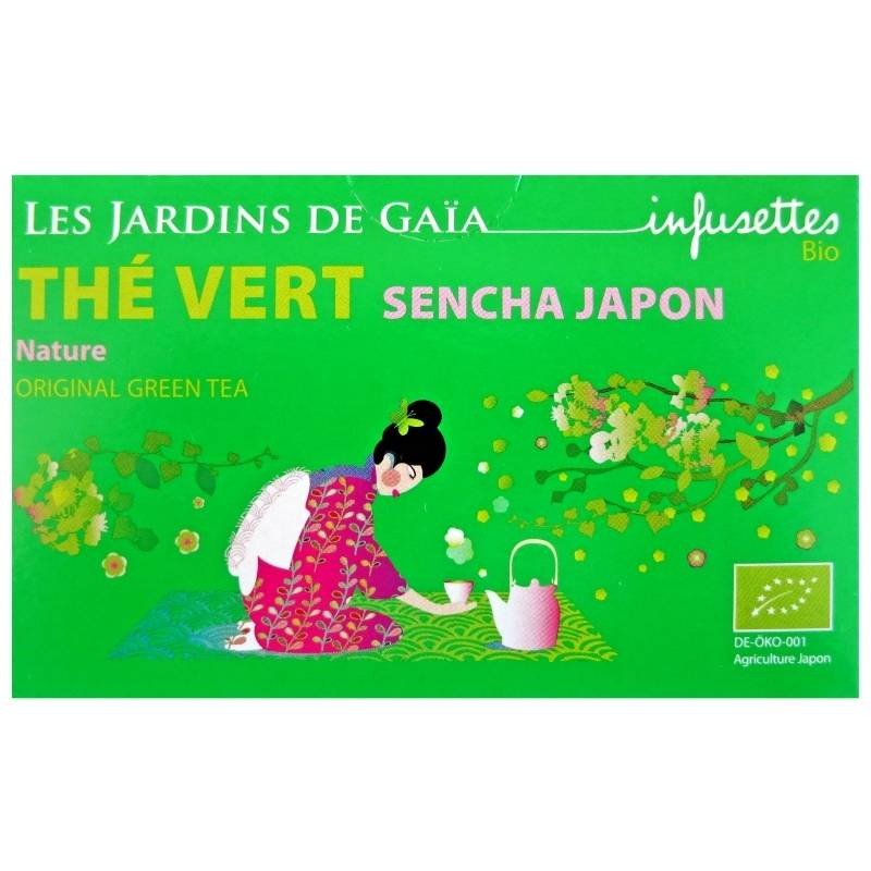 Les Jardins de Gaïa Infusettes de thé vert Sencha Japon  Jardins de Gaïa