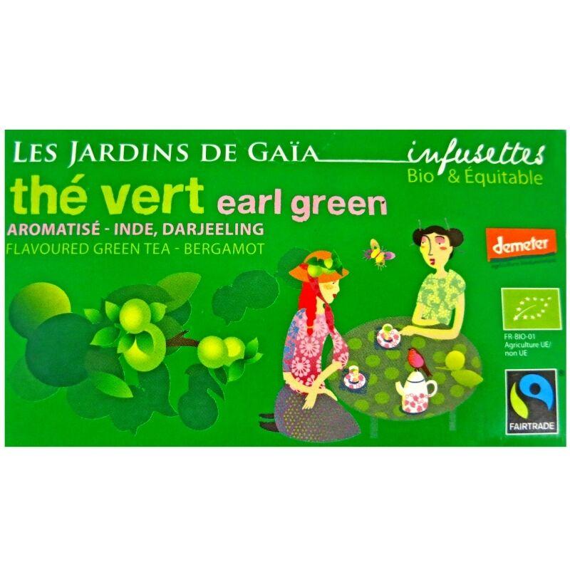 Les Jardins de Gaïa Infusettes de thé vert Earl Green Bergamote Jardins de Gaïa
