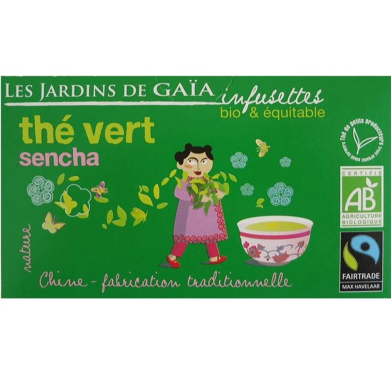 Les Jardins de Gaïa Infusettes de thé vert Sencha Chine Jardins de Gaïa