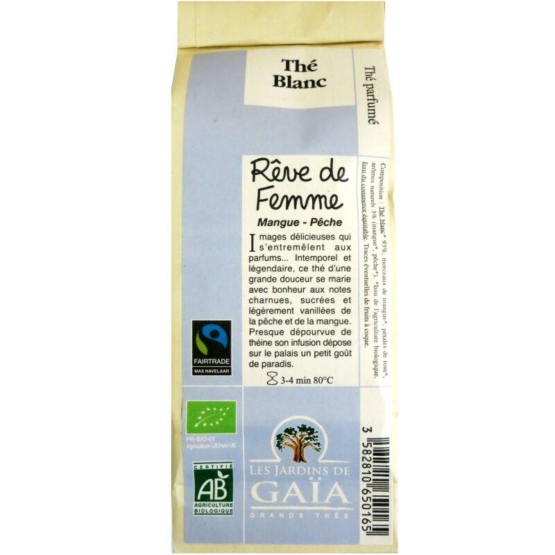 Les Jardins de Gaïa Thé blanc bio parfumé Rêve de Femme Mangue Pêche  Jardins de Gaïa 50 g