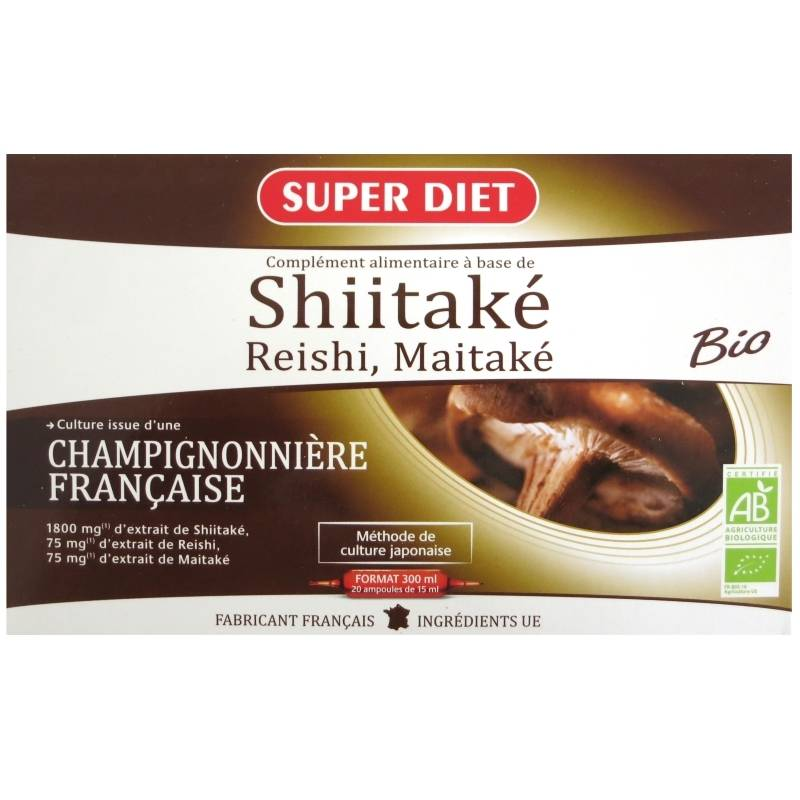 Super Diet Shiitaké Reishi Maitaké bio Super Diet 20 ampoules