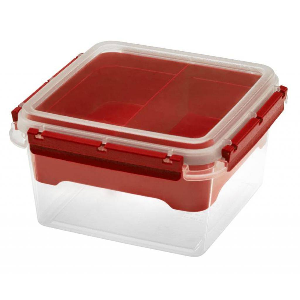 Firplast Boîte Bento PP 2,25L rouge réutilisable avec insert 2 compartiments x 6 Firplast