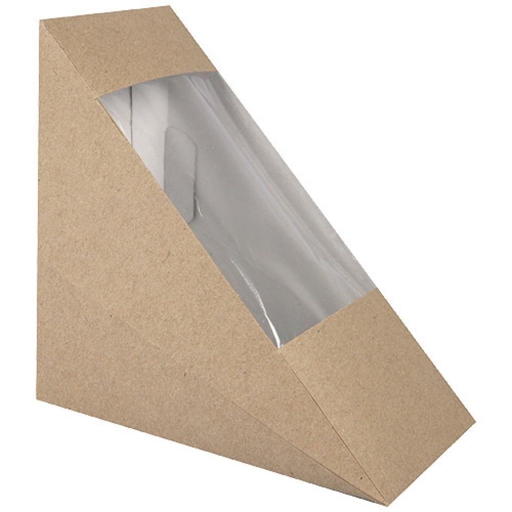 Firplast Boite triangle sandwich kraft brun avec fenêtre 123x52x123 mm x 500 Firplast