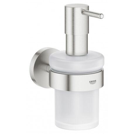 Grohe Essentials Distributeur de savon avec support, Supersteel (40448DC1)