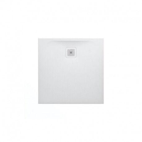 Laufen Receveur de douche en gel coat Marbond, extra-plat, carré, évacuation sur le côté 80x80, Blanc mat (H2109500000001)
