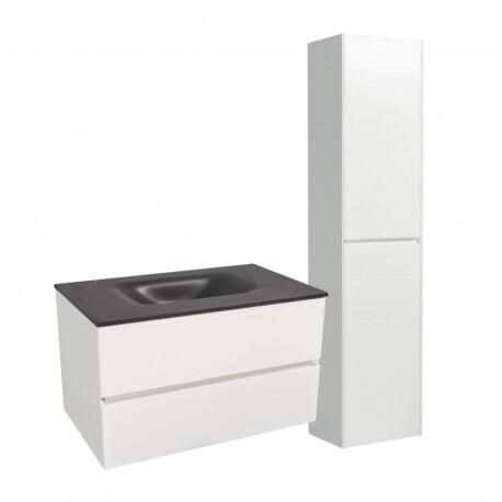 Naturel Set Meuble 86cm suspendu blanc avec 2 tiroirs + Vasque marbre coulé noir mat + Armoire (Verona86NBB)