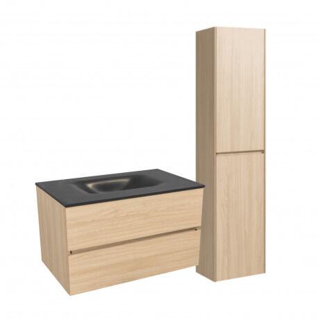 Naturel Set Meuble 86cm suspendu bois clair avec 2 tiroirs + Vasque marbre coulé noir mat + Armoire (Verona86NCC)
