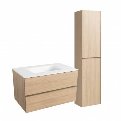 Naturel Set Meuble 86cm suspendu bois clair avec 2 tiroirs + Vasque marbre coulé blanc mat + Armoire (Verona86BCC)