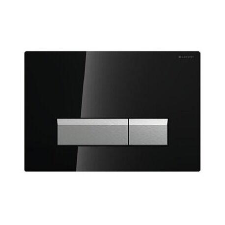 Geberit 115600SJ1 Sigma 40 Plaque de recouvrement rinçage à 2 boutons Noir/Alu Brossé (115.600.SJ.1)