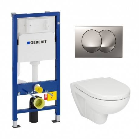 Geberit Pack WC Geberit duofix UP100 + Cuvette Jika (groupe Roca-Laufen) + Plaque de commande Delta20 chrome satiné