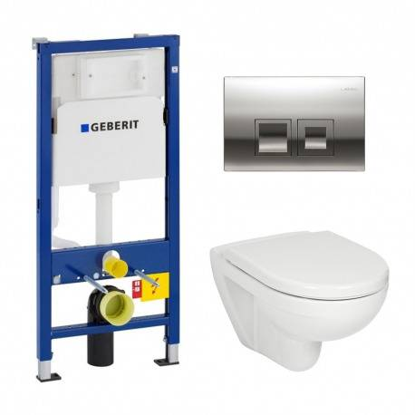 Geberit Pack WC Geberit duofix UP100 + Cuvette Jika (groupe Roca-Laufen) + Plaque de commande Delta50 chrome