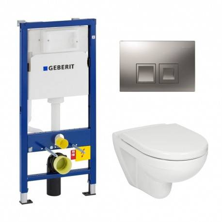 Geberit Pack WC Geberit duofix UP100 + Cuvette Jika (groupe Roca-Laufen) + Plaque de commande Delta50 chrome mat
