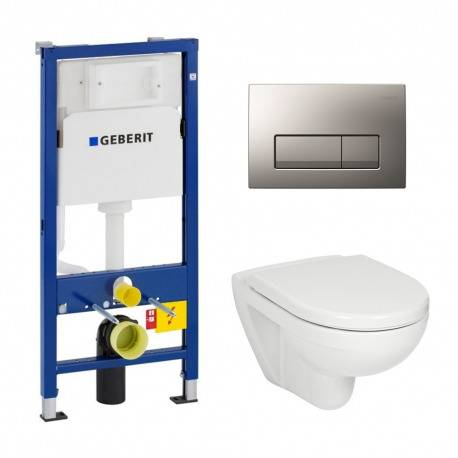 Geberit Pack WC Geberit duofix UP100 + Cuvette Jika (groupe Roca-Laufen) + Plaque de commande Delta51 Chrome mat