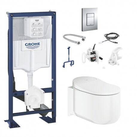 Grohe Pack complet Sensia Arena Rapid SL + WC lavant suspendu + Kit d'installation pour chasse automatique + plaque (Sensia-SET)