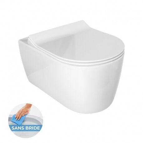 Idevit Alfa WC suspendu sans bride avec fixations invisibles + abattant ultra fin déclipsable avec frein de chute (AlfaRimless)