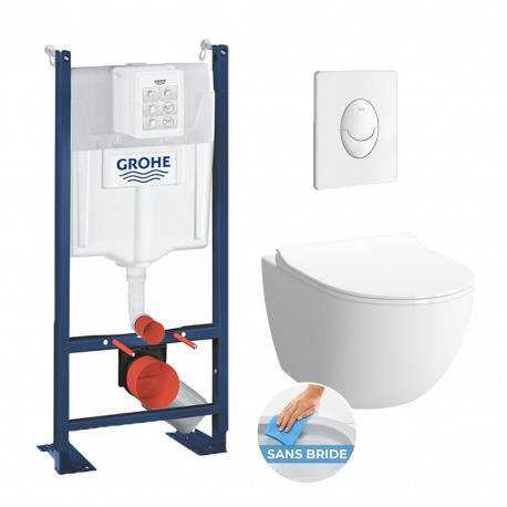 Grohe Pack WC Rapid SL autoportant + cuvette Vitra Sento sans bride + plaque Skate Air blanche (ProjectSento-3)