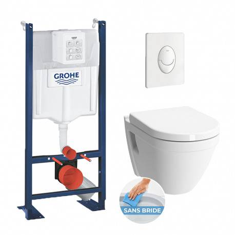 Grohe Pack WC Rapid SL autoportant + cuvette S50 sans bride + plaque Skate Air blanche (ProjectS50-3)