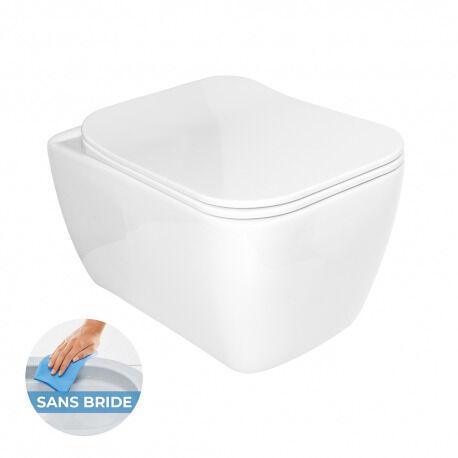 Glacera WC suspendu Havana sans bride avec fixations cachées + abattant ultra-fin soft close (HavanaRimless)