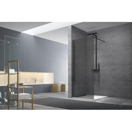 Swiss Aqua Technologies Paroi de douche à l'italienne 87x200 cm Walk-in, anti-calcaire, verre fumé (WI90KS-SET)