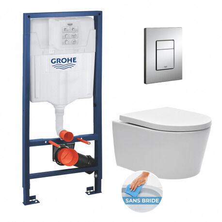 Grohe Pack WC Rapid SL + cuvette sans bride SAT, fixations cachées + plaque Skate chrome (RapidSL-SATrimless)