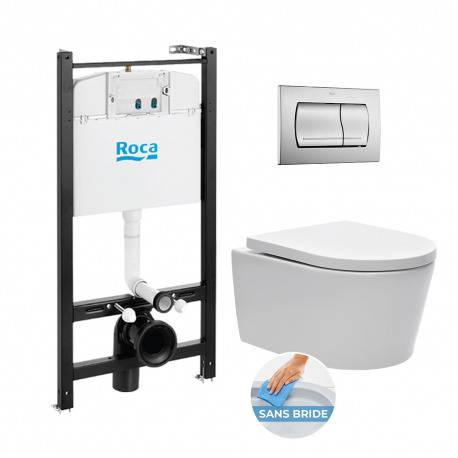 Roca Pack Bâti-support Roca Active + WC sans bride et fixations invisibles + plaque chrome mat (RocaActiveSATrimless-2)