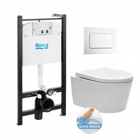 Roca Pack Bâti-support Roca Active + WC sans bride et fixations invisibles + plaque blanche (RocaActiveSATrimless-1)