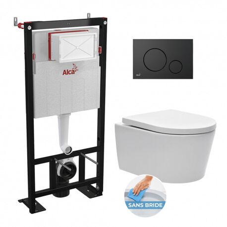 Alca bati support autoportant + WC suspendu sans bride et fixations invisibles + plaque noire mate (AlcaSATrimless-2)
