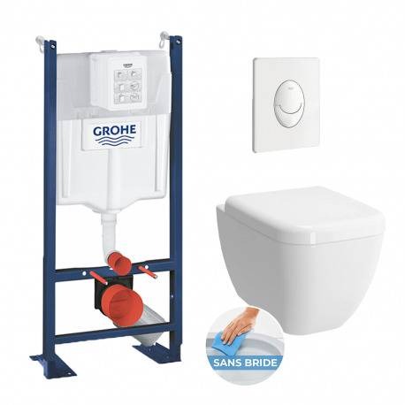 Grohe Pack WC Cuvette Shift RIM-EX (sans bride) + Abattant soft close + Rapid SL autoportant NF + plaque blanche (ProjectShift-3)
