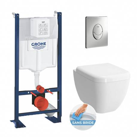 Grohe Pack WC Cuvette Shift RIM-EX (sans bride) + Abattant soft close + Rapid SL autoportant NF + plaque chrome (ProjectShift-2)