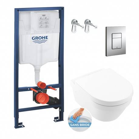 Grohe Pack WC Bâti Rapid SL + Cuvette Architectura sans bride DirectFlush fixations invisibles (Architectura2Perfect-1)