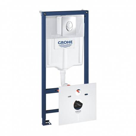 Grohe Pack WC Bâti-support Rapid SL + Plaque de Commande Skate Air Chrome + Fixations + Set d'isolation (38528001-2)