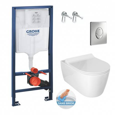 Grohe Pack WC Bâti Rapid SL + Cuvette Alfa sans bride avec fixations invisibles + Abattant softclose (RapidSlAlfaRimless-2)