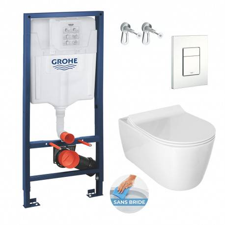 Grohe Pack WC Bâti Rapid SL + Cuvette Alfa sans bride avec fixations invisibles + Abattant softclose (RapidSlAlfaRimless-4)
