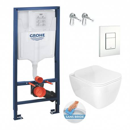Grohe Pack WC Bâti Rapid SL + Cuvette Havana sans bride avec fixations invisibles + Abattant softclose (RapidSlHavanaRimless-4)